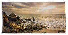 Man Watching Sunset In Malibu Bath Towel