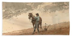 Man With Plow Horse Hand Towel