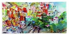 Manarola Cinque Terre Italy Colorful Watercolor Hand Towel