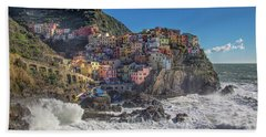 Bath Towel featuring the photograph Manarola In Cinque Terre  by Cheryl Strahl