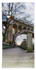 Manayunk - Towpath And Bridge Hand Towel by Bill Cannon