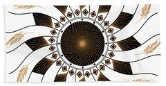 Hand Towel featuring the digital art Mandala Black And Gold by Linda Lees