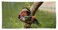 Mandarin Duck On Tree Bath Towel