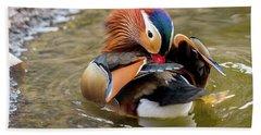 Mandarin Duck Preening Feathers Hand Towel
