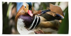 Mandarin Duck Raising One Foot. Bath Towel