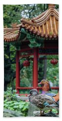 Mandarin Ducks At Pavilion Hand Towel