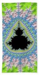 Bath Towel featuring the digital art Mandelbrot Fractal Greenery Rose Quartz Serenity by Matthias Hauser