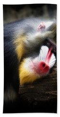 Mandrill Baboon Bath Towel by Lana Trussell