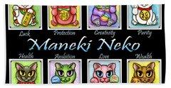Maneki Neko Luck Cats Hand Towel