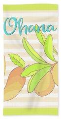 Mango Ohana Tropical Hawaiian Design Of Fruit And Family Hand Towel