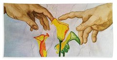Man, God...and Calla Lilies Bath Towel by Rand Swift
