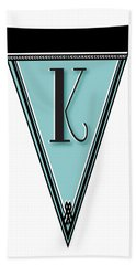 Pennant Deco Blues Banner Initial Letter K Hand Towel