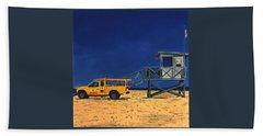 Manhattan Beach Lifeguard Station Side Hand Towel by Lance Headlee