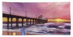 Bath Towel featuring the painting Manhattan Beach Pier by Jamie Frier