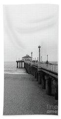 Manhattan Beach Pier On Film Hand Towel