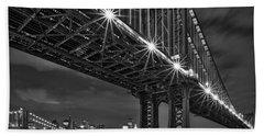 Manhattan Bridge Frames The Brooklyn Bridge Hand Towel