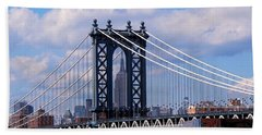 Manhattan Bridge Framing The Empire State Building Hand Towel