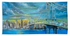 Hand Towel featuring the painting Manhattan Bridge by Patrice Torrillo