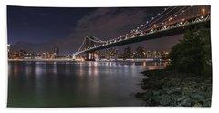 Manhattan Bridge Twinkles At Dusk Bath Towel