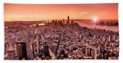 Manhattan In Red Hand Towel