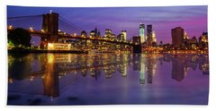 Bath Towel featuring the photograph Manhattan Reflection by Mircea Costina Photography