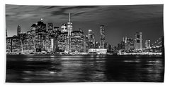 Manhattan Skyline At Dusk From Broklyn Bridge Park In Black And  Bath Towel