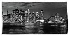 Manhattan Skyline At Dusk From Broklyn Bridge Park In Black And  Hand Towel