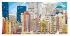 Manhattan Skyline New York City Bath Towel