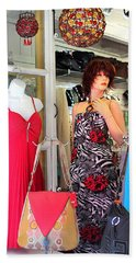 Mannequin With Stripped Flower Dress Hand Towel