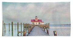 Manteo Lighthouse Bath Towel by Marion Johnson
