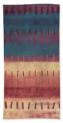 Hand Towel featuring the painting Mantra's I by Kerryn Madsen-Pietsch