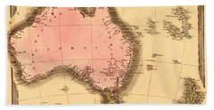 Map Of Australia 1840 Hand Towel by Andrew Fare