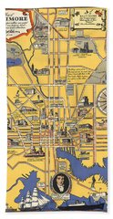 Map Of Baltimore - Vintage Illustrated Map - Historical Map - Cartography Hand Towel