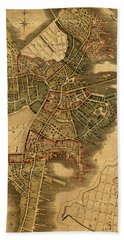 Map Of Boston 1814 Hand Towel by Andrew Fare