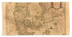 Map Of Denmark 1645 Hand Towel by Andrew Fare