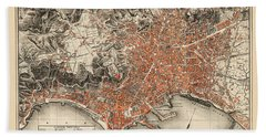 Map Of Naples 1860 Bath Towel by Andrew Fare