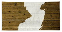 Map Of New Jersey State Outline White Distressed Paint On Reclaimed Wood Planks Custom Brown Bath Towel