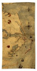Map Of Outer Banks Vintage Coastal Handrawn Schematic On Parchment Circa 1585 Bath Towel
