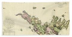 Map Of Saint Barts 1801 Hand Towel
