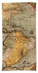 Map Of The Americas 1570 Hand Towel by Andrew Fare