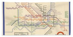 Map Of The London Underground - London Metro - 1933 - Historical Map Bath Towel