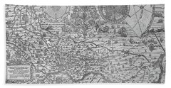 Map Of The Town And Diocese Of Cremona, 1571 Bath Towel