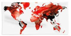 Map Of The World 10 -colorful Abstract Art Hand Towel