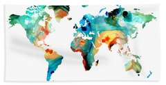 Map Of The World 11 -colorful Abstract Art Hand Towel by Sharon Cummings