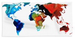 Map Of The World 3 -colorful Abstract Art Hand Towel