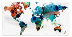 Map Of The World 6 -colorful Abstract Art Bath Towel