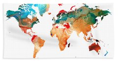 Map Of The World 7 -colorful Abstract Art Hand Towel