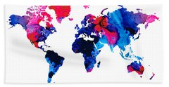 Map Of The World 9 -colorful Abstract Art Hand Towel