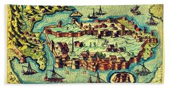 Map Seaport Bath Towel