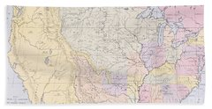 Map Showing The Localities Of The Indian Tribes Of The Us In 1833 Hand Towel